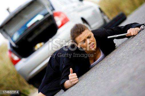 104275470istockphoto Helpless businesswoman stuck on a road 174632314