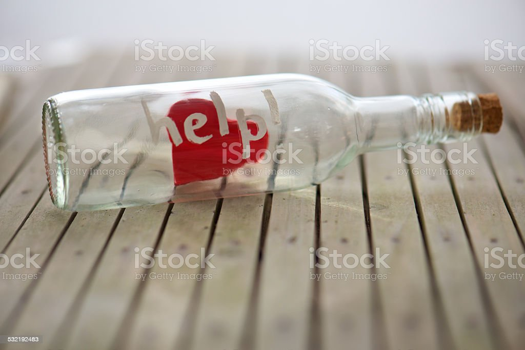 helps my heart captive in the bottle stock photo