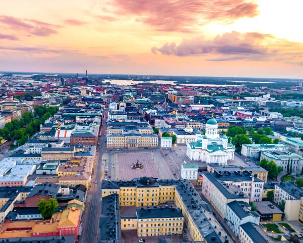 helsinki aerial, finland - drone helsinki bildbanksfoton och bilder