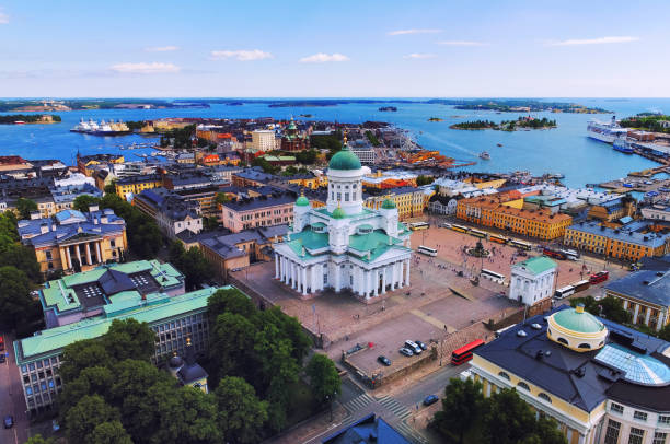 Helsinki aerial, Finland stock photo