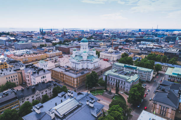 helsingfors antenn, finland - drone helsinki bildbanksfoton och bilder
