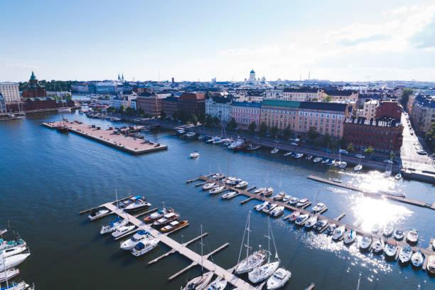 helsingfors antenn marina finland - drone helsinki bildbanksfoton och bilder