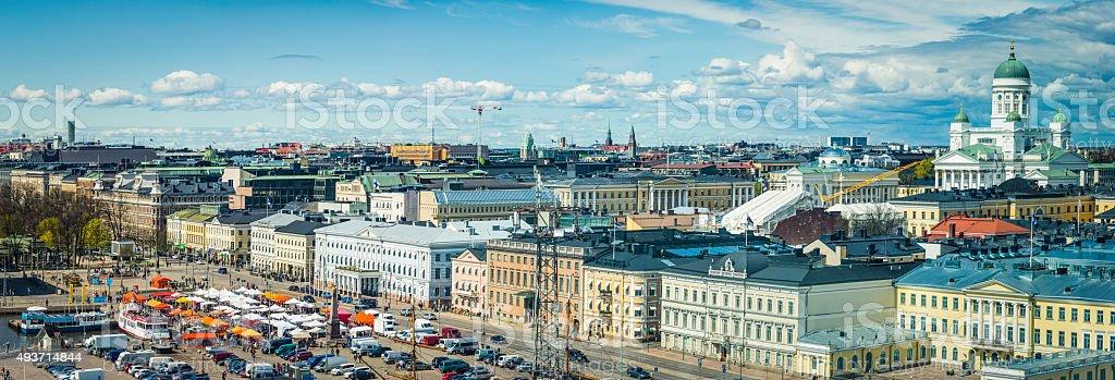 Helsinki aerial panorama over Cathedral Senate Square Esplanadi landmarks Finland stock photo