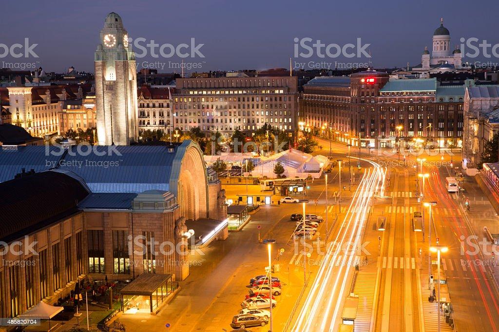 Helsinki aerial view at night stock photo