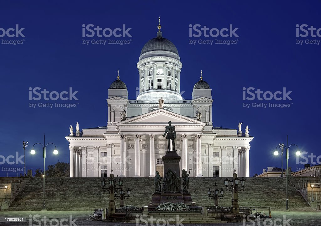 Helsinki cathedral and monument to Alexander II at evening, Finland stock photo