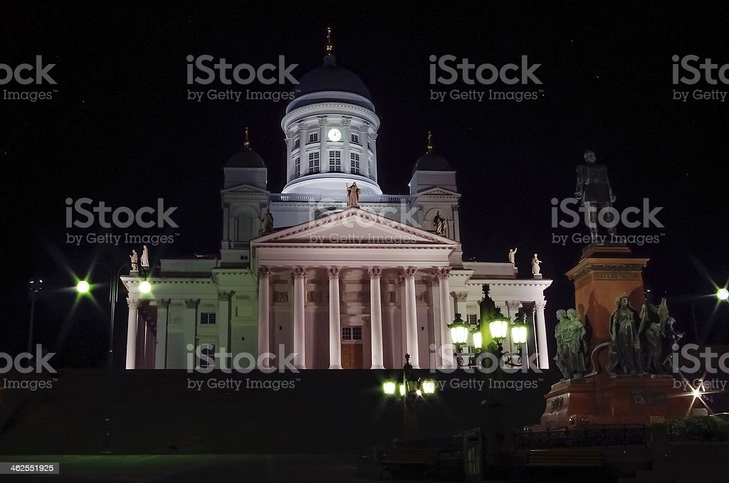 Helsinki Cathedral at Night stock photo