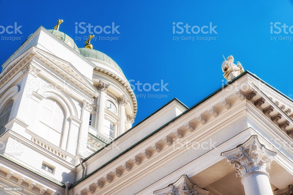Helsinki cathedral details in finland stock photo