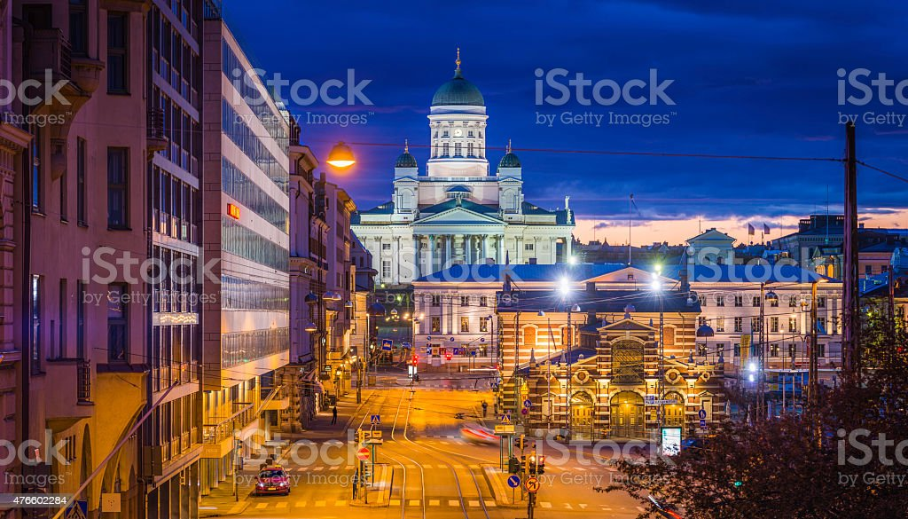 Helsinki Cathedral overlooking Market Square at sunset panorama Finland stock photo