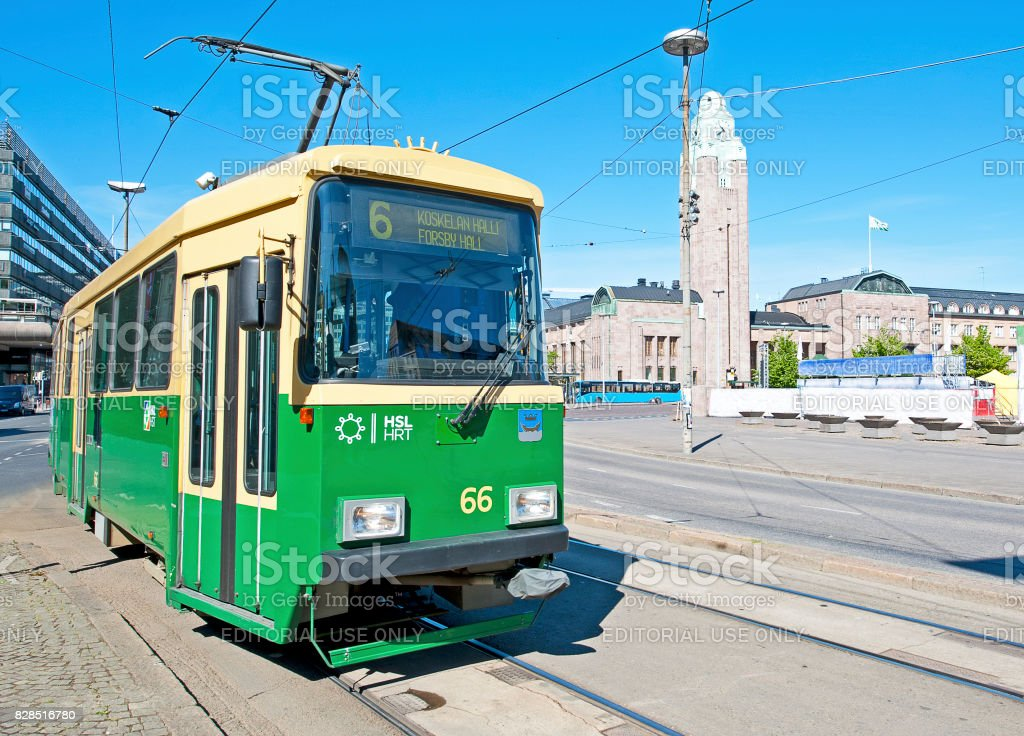 Helsinki Central railway station and tram, Kluuvi, Helsinki, Finland stock photo