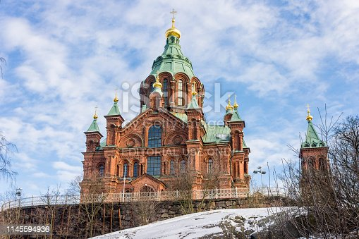 Helsinki, Finland. Uspenski Cathedral (Uspenskin katedraali), an Eastern Orthodox cathedral dedicated to the Dormition of the Virgin Mary