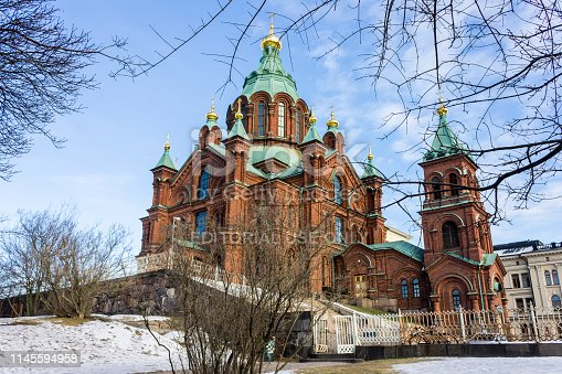 Uspenski Cathedral (Uspenskin katedraali), an Eastern Orthodox cathedral dedicated to the Dormition of the Virgin Mary. Helsinki, Finland