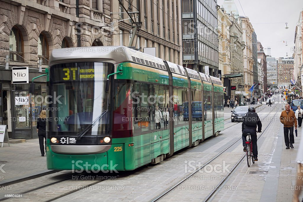 Helsinki city street Helsinki, Finland - April 30, 2012: A tram running along the Aleksanterinkatu in the central part of the city. Electric trams have operated in Helsinki since 1900. Building Exterior Stock Photo