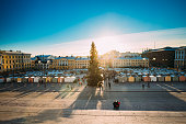 Helsinki, Finland. Aerial View Of Christmas Xmas Market With Christmas Tree On Senate Square In Sunny Winter Day.