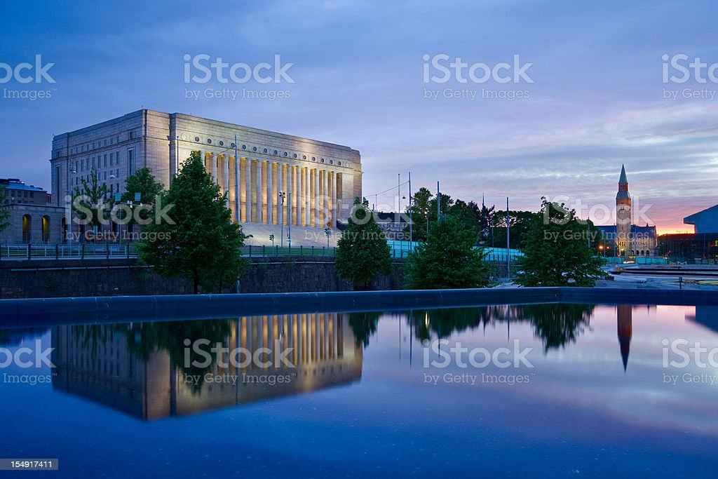 Helsinki Finland Parliament of Finland and the National Museum stock photo