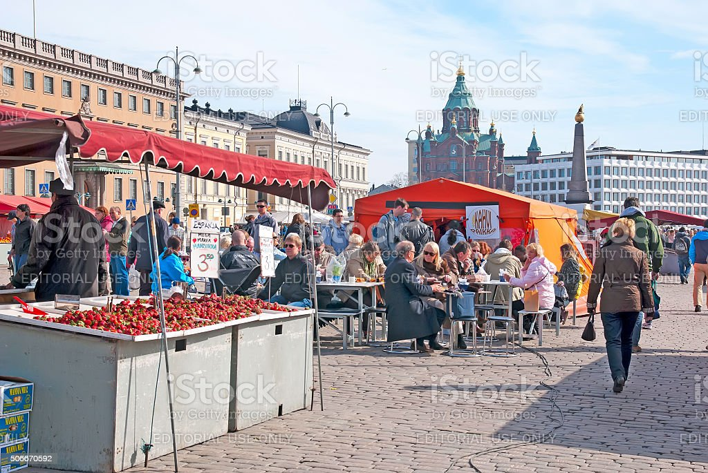 Helsinki. Finland. People on the Market Square royalty-free stock photo