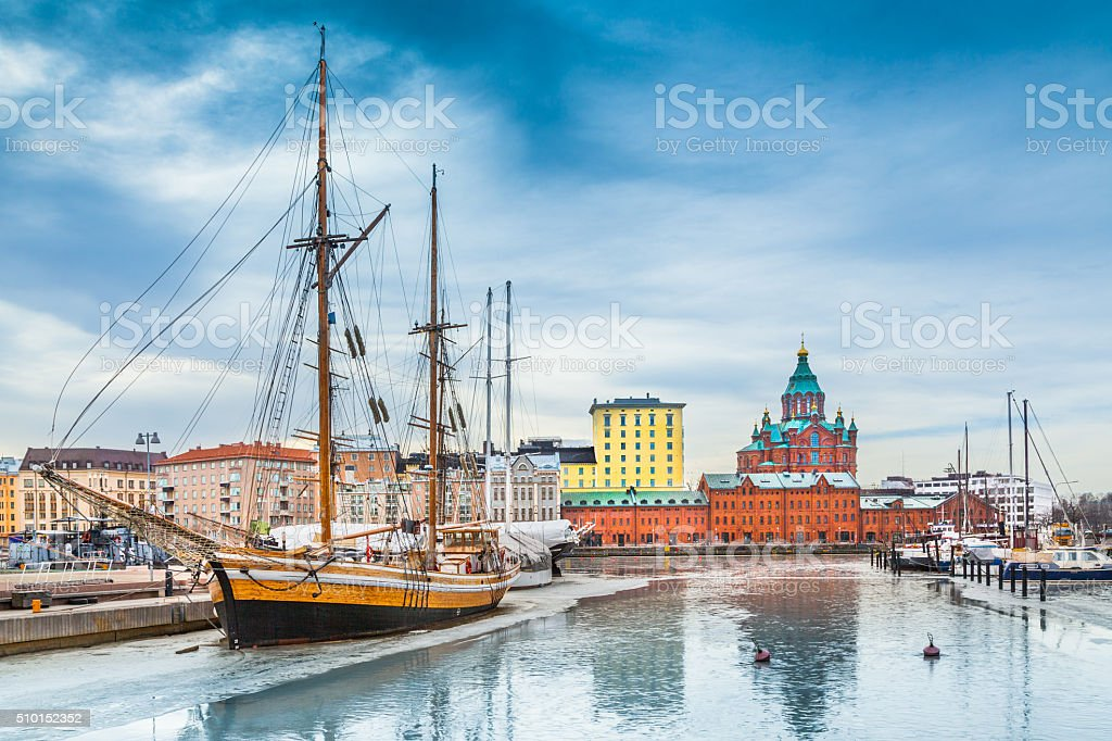 Helsinki harbor district with Uspenski cathedral in winter, Finland stock photo
