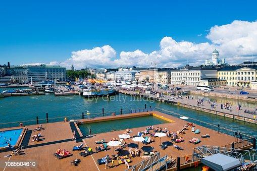 Helsinki harbor with city skyline Finland Summer