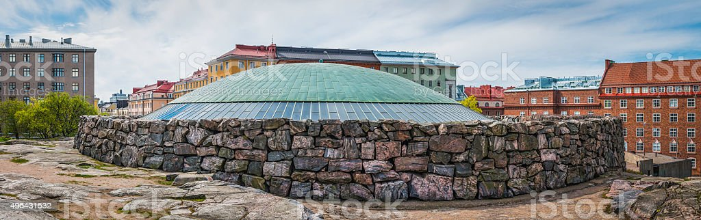 Helsinki iconic rocky walls of Temppeliaukio Church Temple Square Finland stock photo