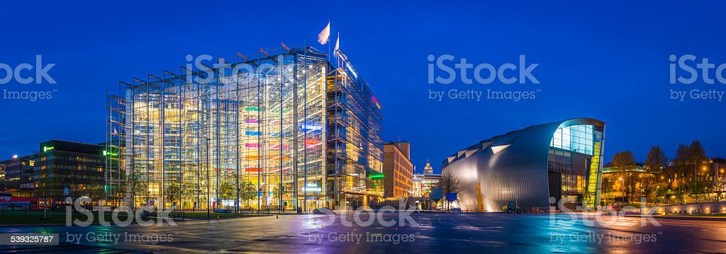 Helsinki Kansalaistori Square futuristic downtown architecture Kiasma illuminated panorama Finland stock photo