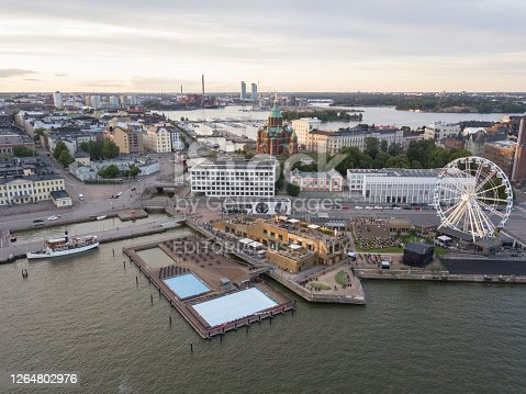 Part of the Helsinki market square seen from above.
