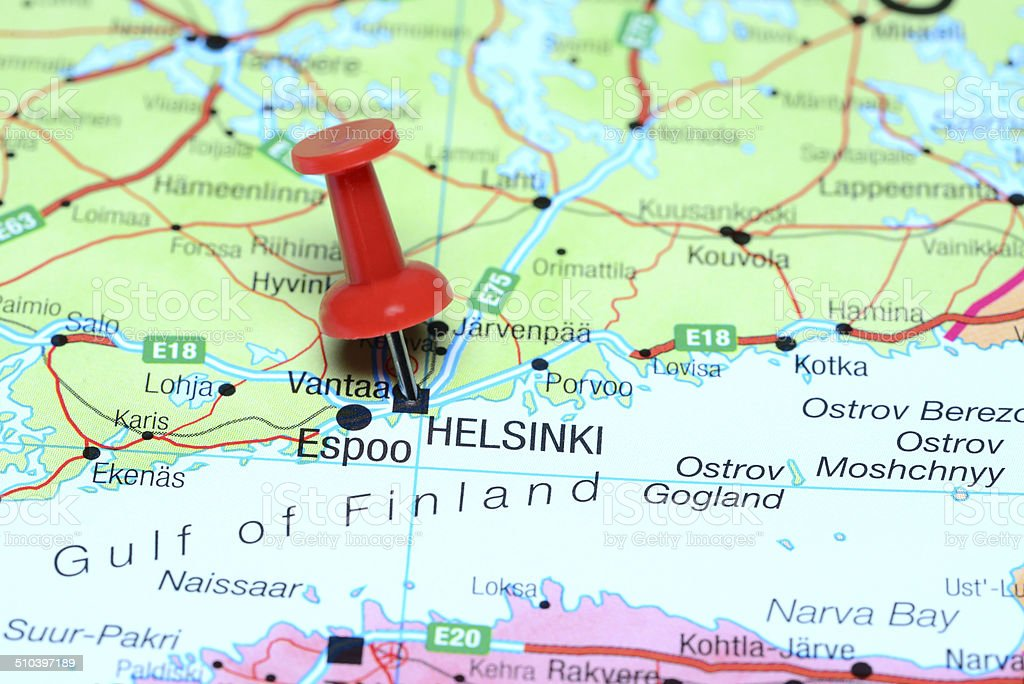 Helsinki Pinned On A Map Of Europe Stock Photo More Pictures of