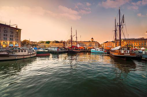 Helsinki, port at sunset