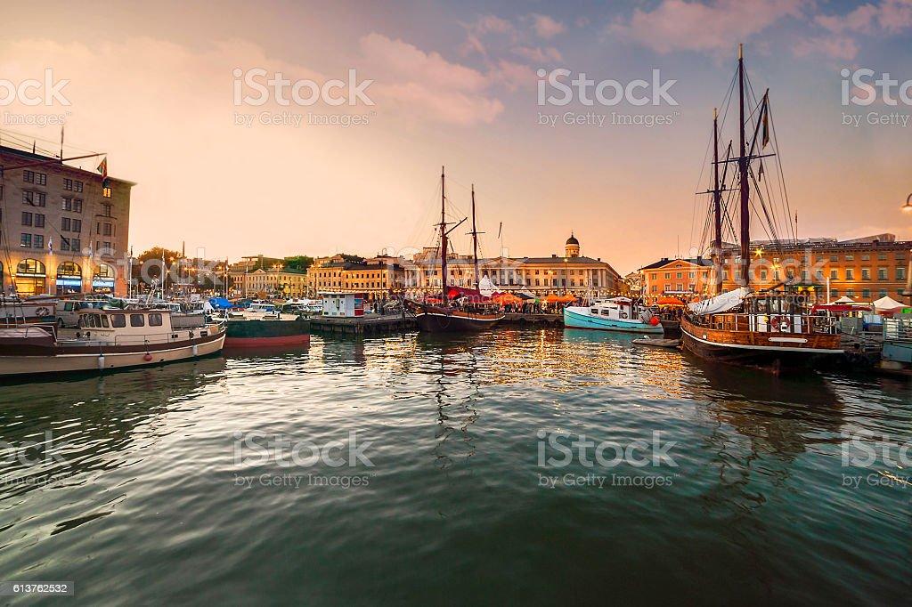 Helsinki, port at sunset stock photo