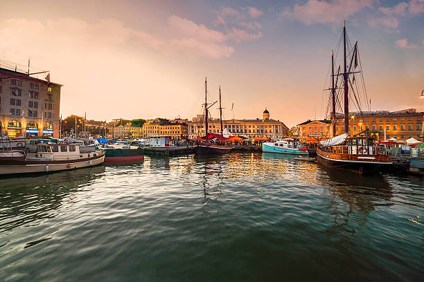 helsinki, port at sunset - finland stock pictures, royalty-free photos & images