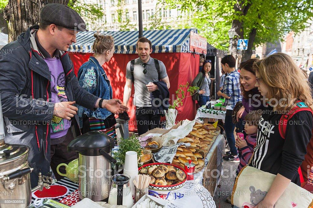 Helsinki Restaurant Day, street carnival of food stock photo