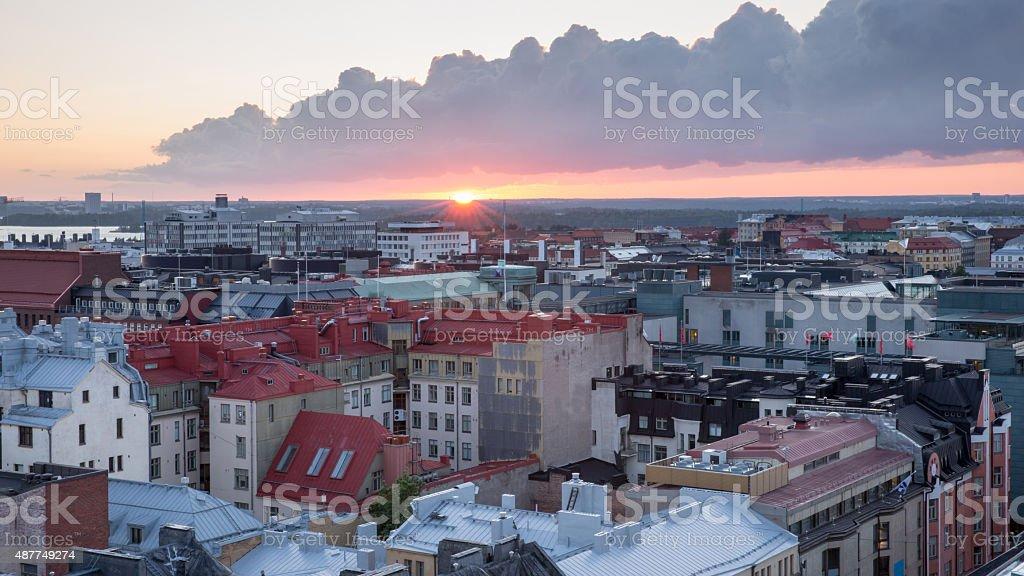 Helsinki rooftops at Sunset stock photo