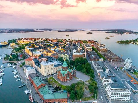 Helsinki Sunset Aerial