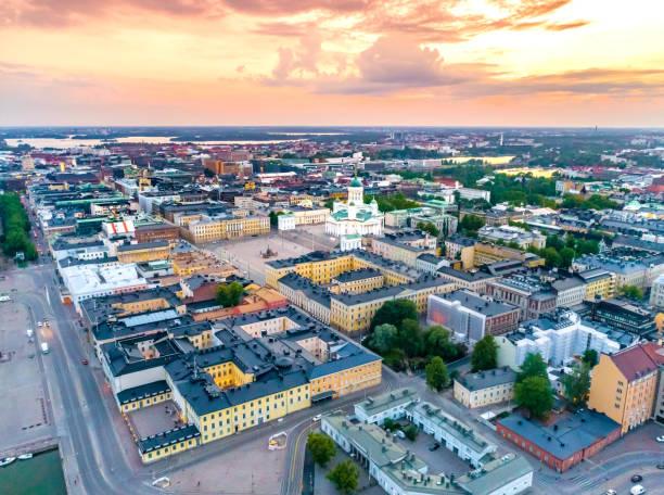 helsingfors sunset aerial - drone helsinki bildbanksfoton och bilder