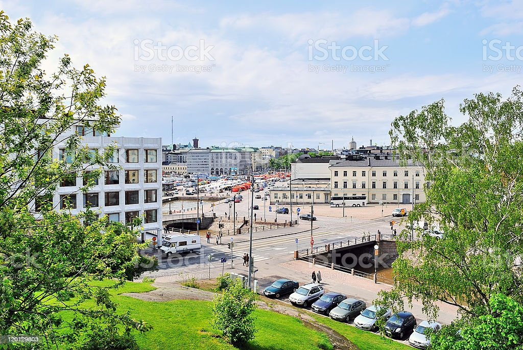 Helsinki. View of  Channel and area Kauppatori royalty-free stock photo