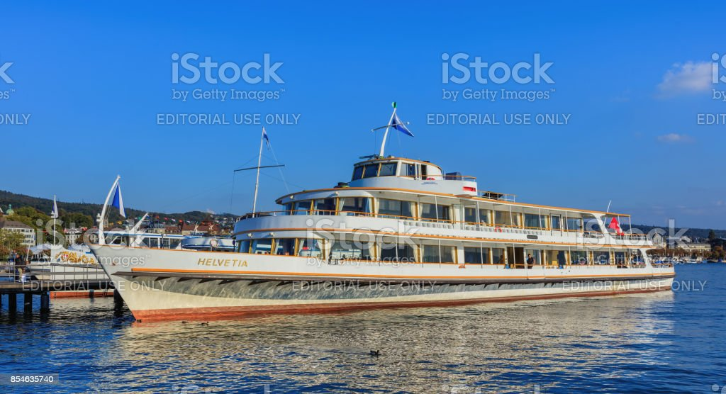 MS Helvetia at a pier on Lake Zurich stock photo