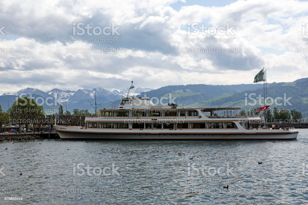 MS Helvetia moored at the ferry terminal royalty-free stock photo