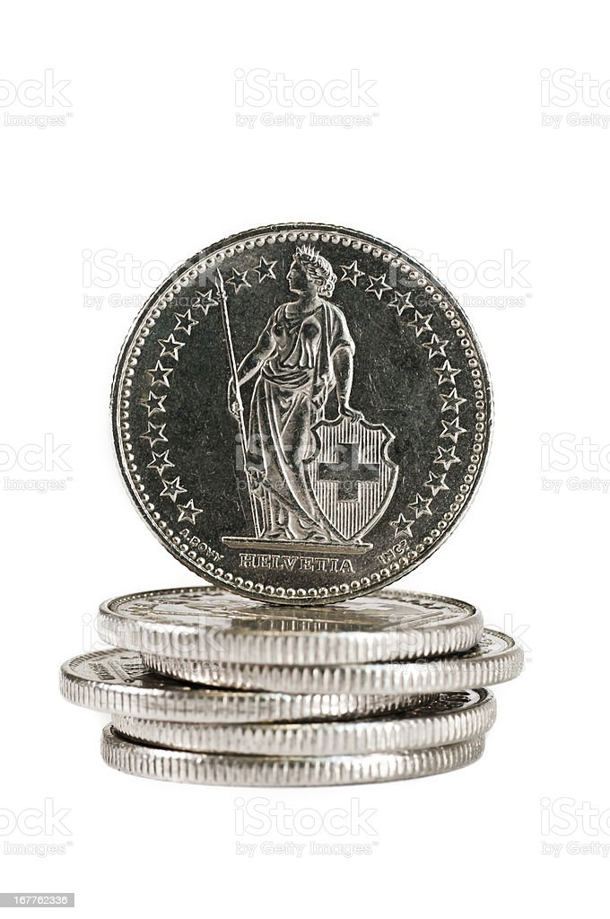 Helvetia on the back of a Swiss coin stock photo
