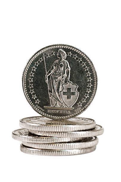 helvetia on the back of a swiss coin - franken stockfoto's en -beelden