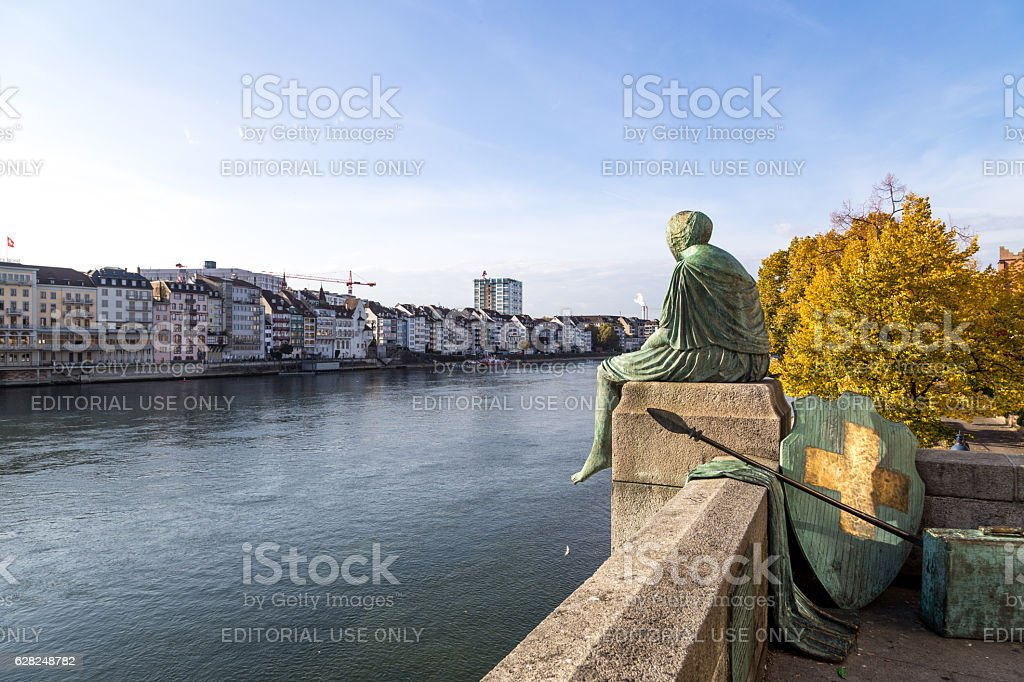 Helvetia Statue in Basel, Switzerland stock photo