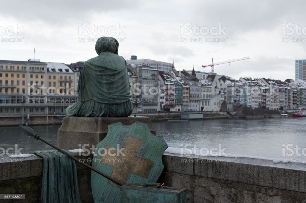 Helvetia statue on the Rhine in Basel foto stock royalty-free