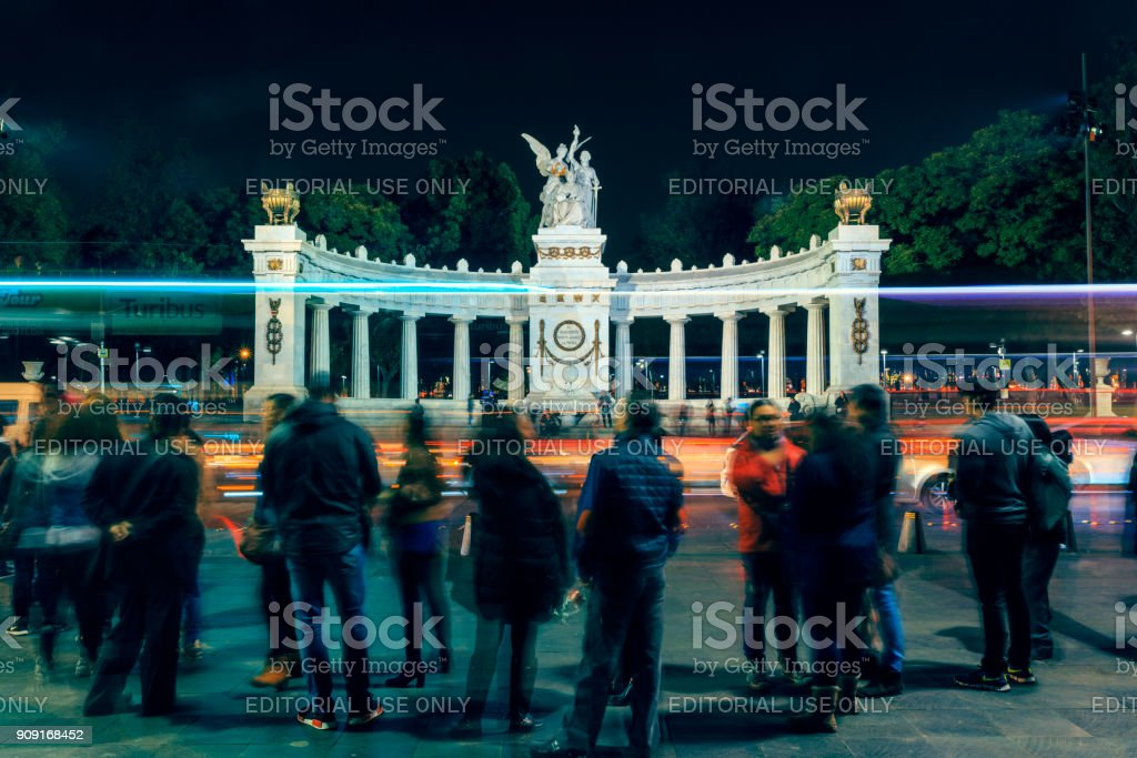 Hemiciclo a Juarez at night, Mexico City stock photo