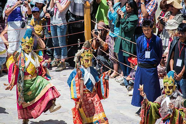 Hemis Festival 2014 at Hemis Monastery. Leh Ladakh,India - July 7,2014 : Lamas (monks) perform mask dances in Hemis Festival 2014 at Hemis Monastery. annually stock pictures, royalty-free photos & images
