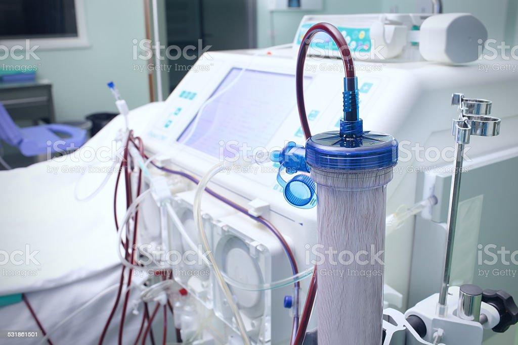Hemodialysis procedure in ICU stock photo