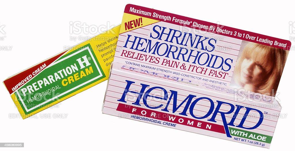 hemorrhoid creams stock photo