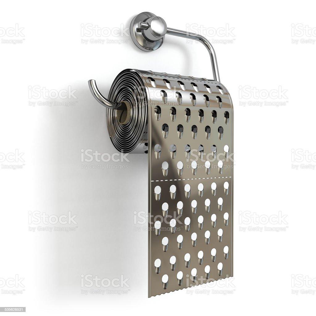 Hemorrhoids concept.Toilet paper  as grater. stock photo