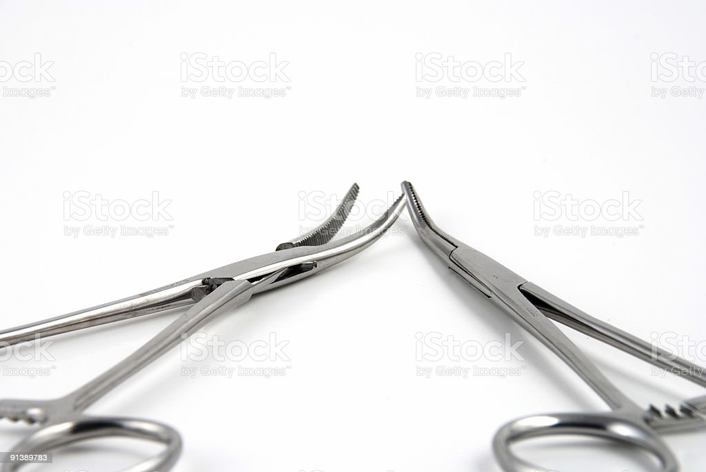 Hemostats and clamps royalty-free stock photo