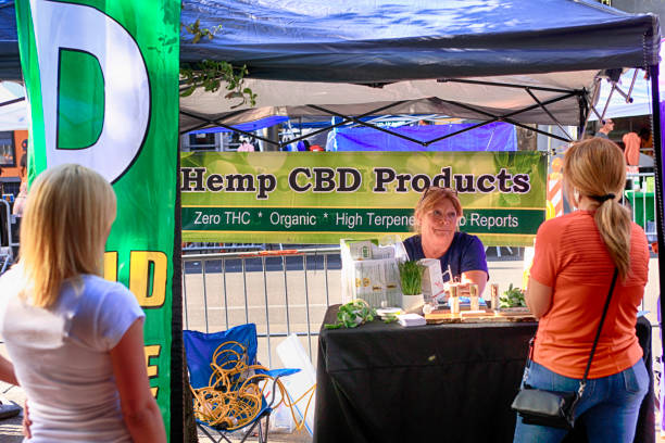 Hemp and CBD Products vendor at a market event in downtown Tucson AZ stock photo