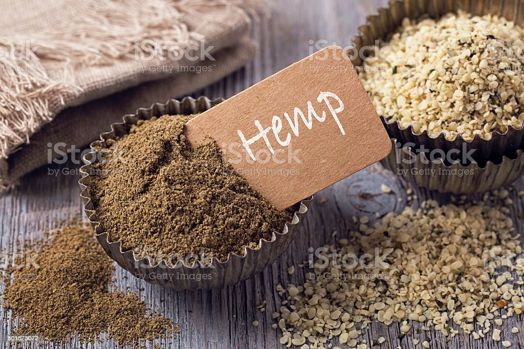 Hemp flour and seeds stock photo