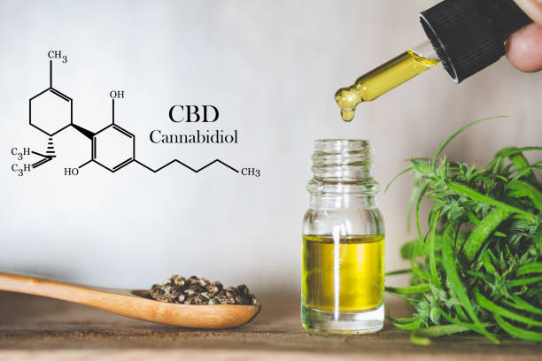 Hemp oil, CBD chemical formula, Cannabis oil in pipette and hemp seeds in a wooden spoon, Medical herb concept Hemp oil, CBD chemical formula, Cannabis oil in pipette and hemp seeds in a wooden spoon, Medical herb concept cooking oil stock pictures, royalty-free photos & images