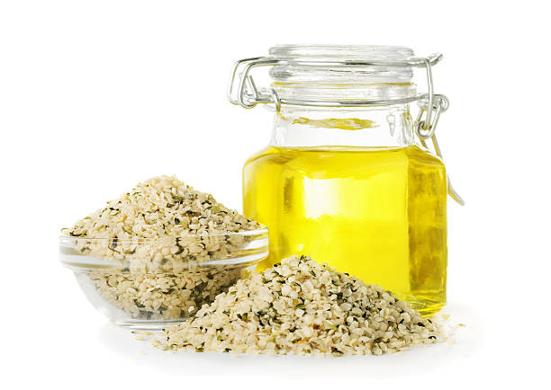 Hemp oil in a bottle stock photo