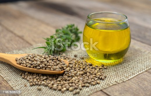 istock CBD hemp oil in a glass bottle.Hemp seeds in a wooden spoon  the hemp leaf is placed on the table. The concept of cannabis for medicinal purposes. Hemp oil extraction components. Close up. 1187838073
